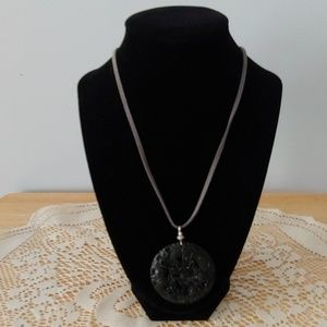 Black  Dragon Carved Semi-Precious Stone Necklace